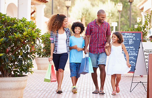 Family Waking and Shopping